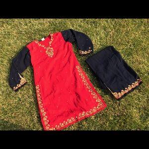 Dresses & Skirts - Beautiful Afghan Indian Pakistani red/blue dress